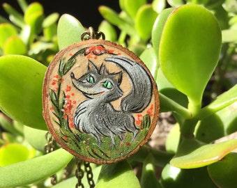 Grey Fox Wisdom Wood Pendant