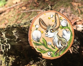 Rabbit Wisdom Wood Pendant