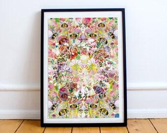 The Circle of Life A4 A3 Fine Art Print - Bees - Wildlife Print - Artwork - Illustration - Illustrated Gift -Present - Digital Print