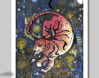 Flying Tiger A4 A3 Art Print - Wall Art - Illustrated Print - Tibetan Tiger - Wildlife - Illustration - Artwork - Stars - Sky -Digital Print