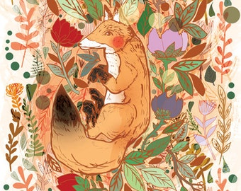 Lost in Nature Fine Art Print-A3 A4 Print- Fox Digital Print - Gift for Children - Gift for Adults