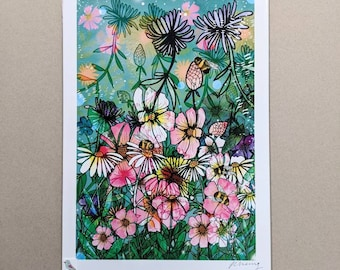 SALE Summer Time A3 Illustrated Print with specks of ink marks - Promo - Discounted - Artwork - Illustration - Bees - Wild Flowers - Nature