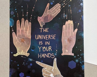 The Universe is in Your Hands Illustrated A5 Art Postcard - Artwork - Art - Illustration - Positive Words - Stars - Motivational