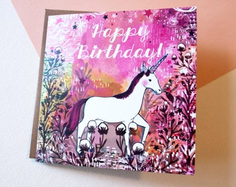 Unicorn Happy Birthday Greeting Card - Gift - For Children and Adults - Happy Birthday - Gift- Stationery