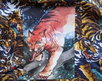 Flying Tiger II Illustrated A5 Postcard - Tibetan Tiger - Art - Artwork - Universe- Animal - Wall Art - Illustration - Nature -Wildlife
