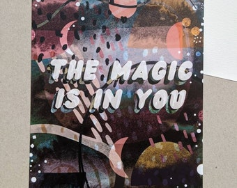 The Magic is in You A5 Illustrated Postcard - Universe - Stars - Illustration - Words - Positivity - Motivational - Gift Idea - Wall Art