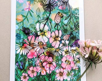 SALE Summer Time A3 Illustrated Print with small specks of ink marks - Promo - Discounted - Artwork - Illustration - Bees - Wild Flowers