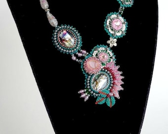 Bead embroidered necklace - Forrest Delight - TN-037-2016-151 - beaded necklace, beadwork necklace, crystal necklace, bead woven necklace