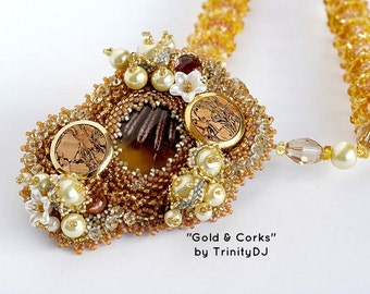 TN-042-2016-120 - Gold & Corks - bead embroidered necklace, bead woven necklace, beaded necklace, beadwork necklace