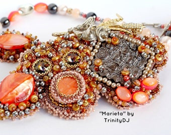 TN-031-2016-146 - Marieta - Bead embroidered necklace, beaded necklace, beadwork necklace, pearl necklace, bead woven necklace