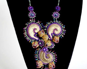 TN-028-2016-119 - Miracles - bead embroidered necklace, bead embroidery, beadwork necklace, beadwoven necklace, beaded necklace
