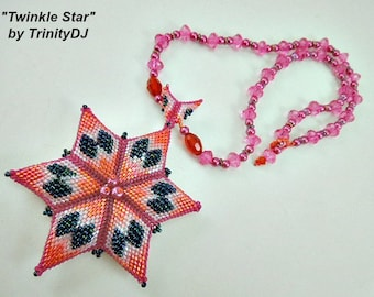 Peyote - Twinkle Star - 2018 - 006 - (BP-PEY-177) - Necklace Tutorial, beading pattern, beading tutorial, beaded necklace, beadwork star