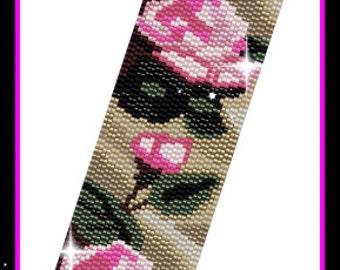 BP-PEY-105-2016-033 - Pink Roses - Peyote Pattern, Peyote Bracelet pattern, beadweaving pattern, peyote stitch, bracelet pattern