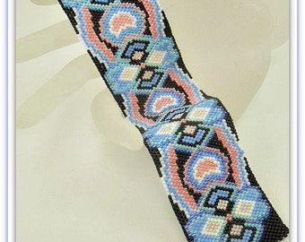 BP-PEY-134-2017-009 - Sapphire Rose - Peyote Pattern, beadweaving pattern, Peyote Bracelet Pattern, DIY bracelet, bracelet pattern, jewelry