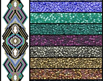 BP-BR-167-2017-038 - Metallic Magic - Brick Stitch Beadwork Pattern, seed bead jewelry,beadweaving tutorial,beaded bracelet,bracelet pattern