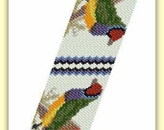 BP-AN-025 - Marlene's Finches - Peyote Pattern, Peyote Bracelet pattern, beadweaving pattern, peyote stitch, bracelet pattern