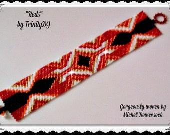 BP-AB-124 - Reds  - Peyote Pattern, Peyote Bracelet pattern, beadweaving pattern, peyote stitch, bracelet pattern