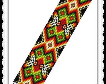BP-Square-027 - Feather Fiesta - Square Stitch Beadwork Pattern, seed bead jewelry, beadweaving tutorial, beaded bracelet, bracelet pattern
