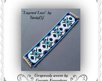 BP-ART-021 - Layered Lace - 2 Drop Peyote Pattern, Peyote Bracelet pattern, beadweaving pattern, peyote stitch, bracelet pattern