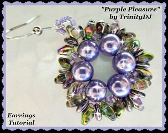 BP-EAR-013-2017-067 - Purple Pleasure - earring PATTERN, earring tutorial, beadweaving tutorial, beaded earrings, beadwork pattern