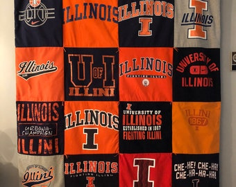 University of Illinois large Tee Shirt Quilt Throw