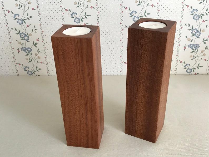 Tall wooden tealight candleholder set