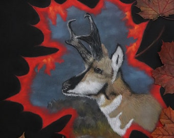 Wildlife Art Original Paint CANADIAN ELK; Wildlife prints Drawing and Illustration Pastel New collection Original prints