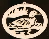 4 inches wide LOON Christmas Ornament Natural Wood Cutout 790-4