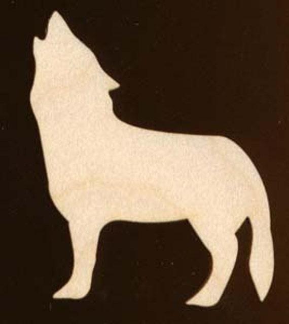 wolf wild animal shape natural craft wood cutout 554 etsy