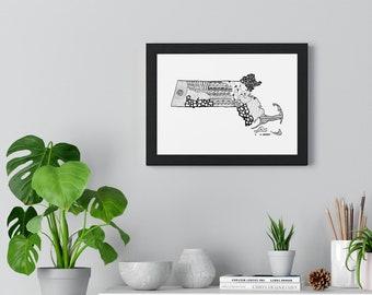 """Premium Framed Horizontal Massachusetts micron pen art Poster (11""""x8"""")"""