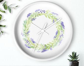 "Floral watercolor wreath wall clock (10"")"