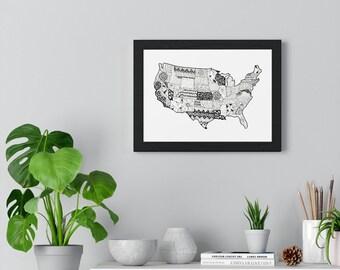 Premium Framed Horizontal USA micron pen art Poster
