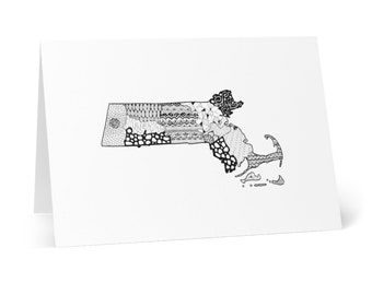 """Massachusetts Welcome basket Cards (8 pcs) cards are 4.1""""x5.8"""" in size"""