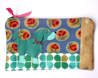 "Zipper Pouch, 5.25x8.75"" in blue, green, teal, gold and red floral print fabric with Handmade Felt Dog Embellishment, Setter Zipper Pouch"