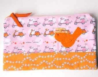 """Zipper Pouch, 9.25 x5.75"""" in orange, pink, gray and white vespa scooter fabric, with Handmade Felt bird Embellishment, Bird Pencil Case"""