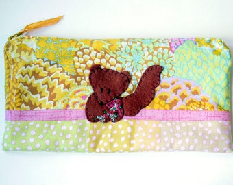 "Zipper Pouch, 9.5 x 5"" in mustard, mint, fuchsia, gray and cream fabric with Handmade Felt Squirrel Embellishment, Squirrel Pencil Case"
