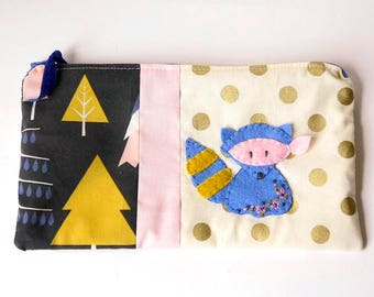 "Zipper Pouch, 5.25x9.5"" in cream, gold, mustard, pink and blue print fabric with Handmade Felt Raccoon Embellishment, Raccoon Zipper Pouch"