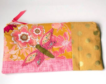 """Zipper Pouch, 5x9.75"""" in Pink, Gold, Rose, Peach and Cream floral print fabric with Handmade Felt Dragon Fly Embellishment, Pencil Case"""