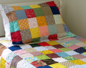 Patchwork quilted pillow shams--Standard Size--Classic Americana-- all cotton fabric