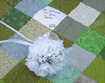 Wedding quilt--Patchwork Quilt--Twin Size--match your colors--63 X 92--made to order wedding gift