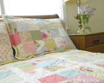 Quilts, Shabby Chic, Cottage Chic Patchwork Quilt Queen Size 92X92 all cotton blanket, two shams, free US shipping, Quiltsy Handmade