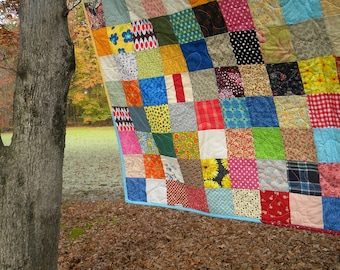 Full size quilt, Funky Random Patchwork Quilt--picnic/double size--81X81--all cotton blanket, Quiltsy Handmade, scrappy, traditional