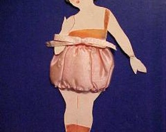 6ddb9a9fa792c5 Vintage 1920s Flapper PAPER DOLL in Silk Puff Panties Lingerie For Framing