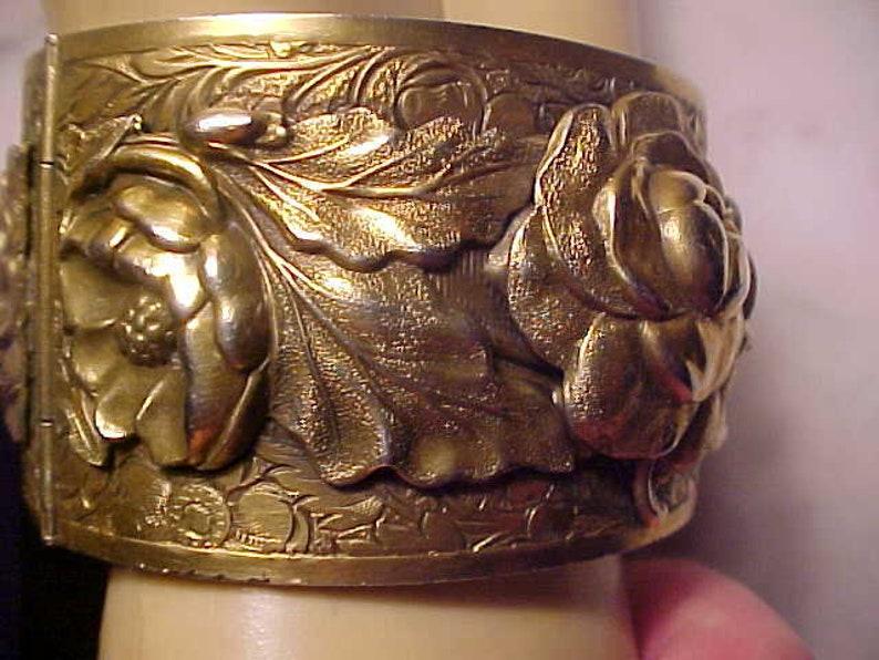 Vintage CORO Bracelet Rarer WIDE Repousse Art Nouveau Style OUTSTANDING Beauty