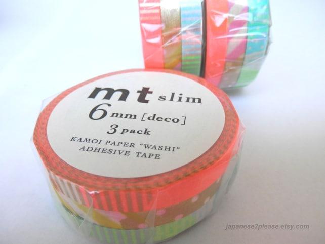 Slim Washi Tape - Mt Washi Masking Tape - Pack of 3 Designs - Deco E Set 6mm x 10m