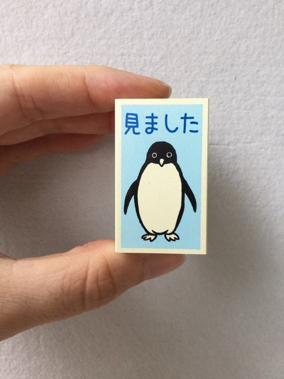 Thank you Stamp Kodomo no Kao Penguin Stamp Self Inking Stamp 10mm square Tiny Schedule Stamp
