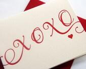 Letterpress Valentines day  -  I love you. Anniversary card - XOXO