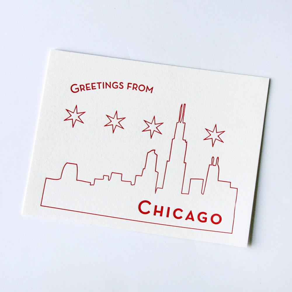 Letterpress Postcard Chicago Postcard Etsy