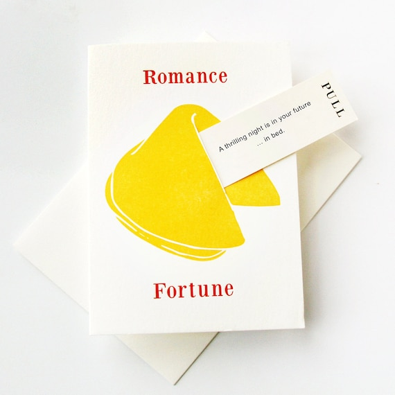 Letterpress Love Romance Anniversary Card Fortune Cookie