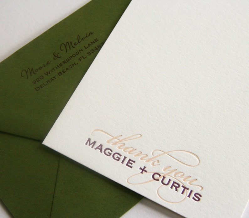 Letterpress Wedding Thank You card fifty cards 2color